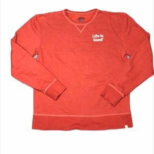 Life is Good Orange Crew Neck Sweatshirt